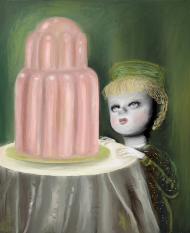 Portrait of a dark character with a green hat staring at a giant pink sweet putted over a table.