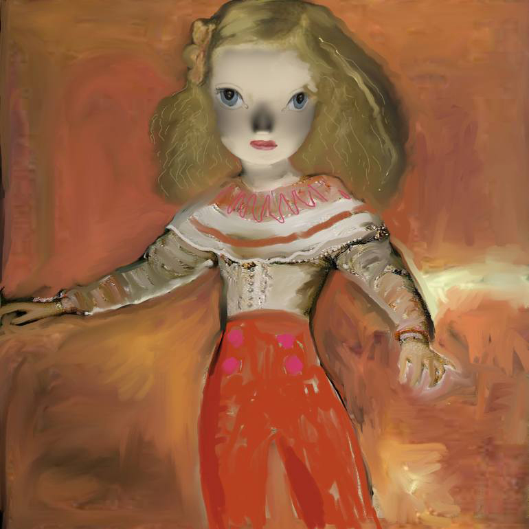 Portrait of a girl with red pants.
