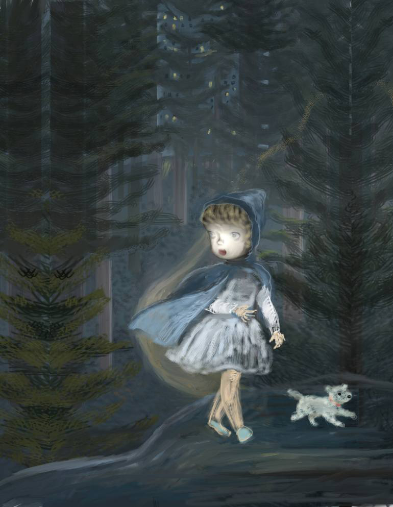 Portrait of a girl in the woods with a blue hood.