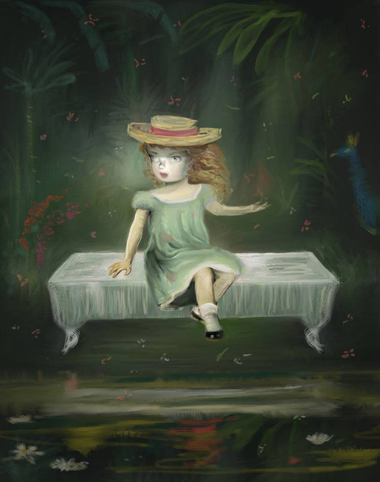 Portait of a girl sit over a floating table.