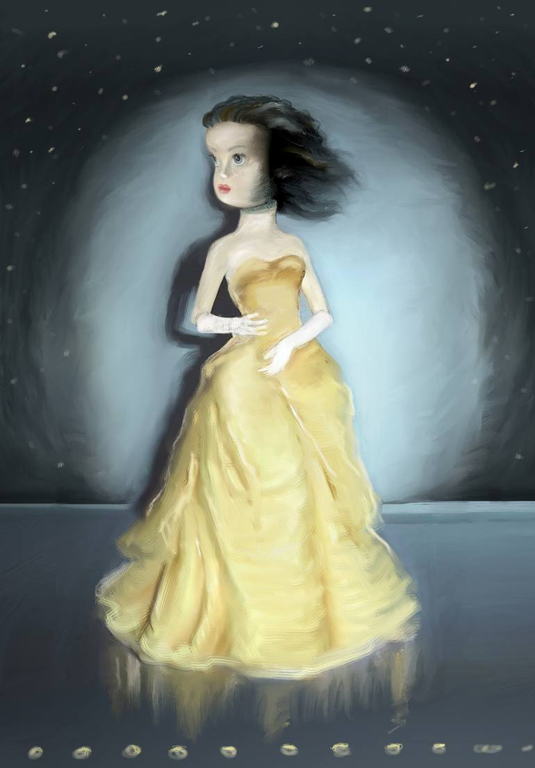 Portrait of a woman in a yellow dress.