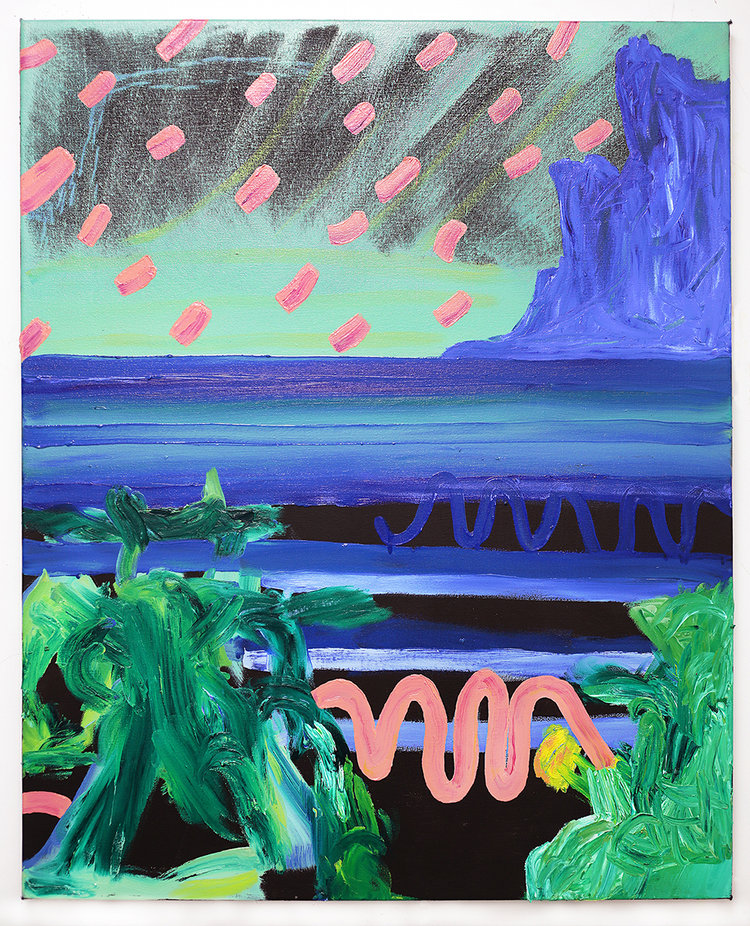 Pink, glue and green abstract composition.