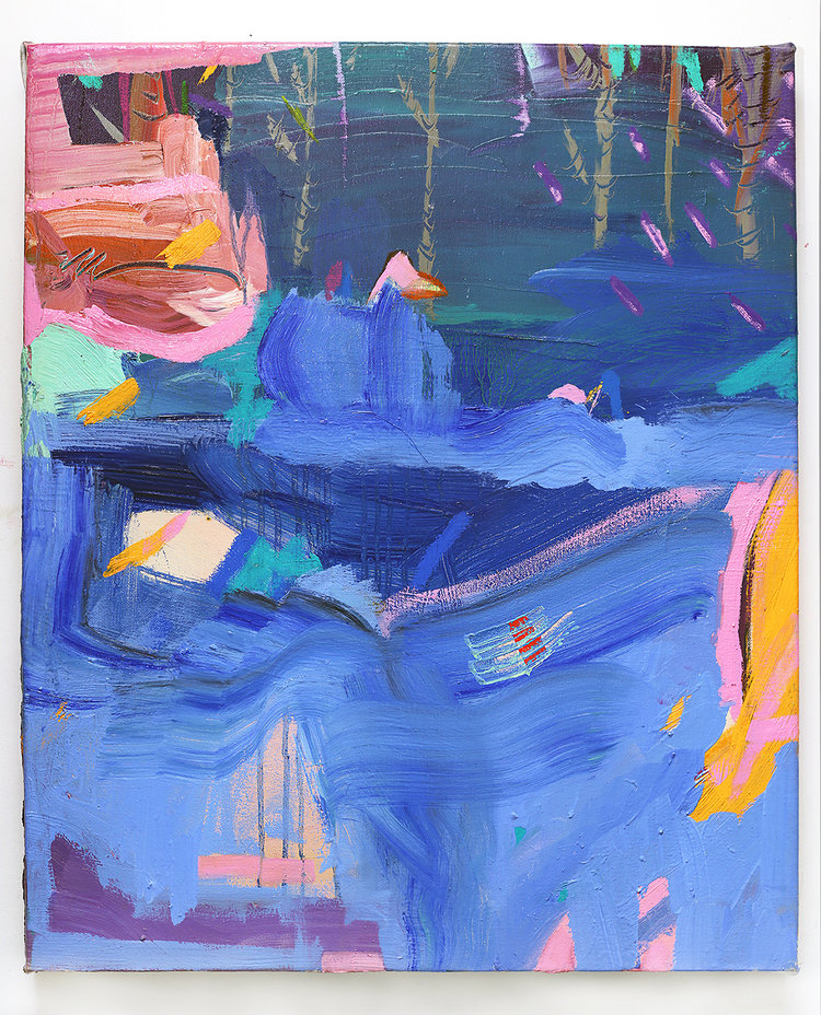 Pink and blue abstract composition.