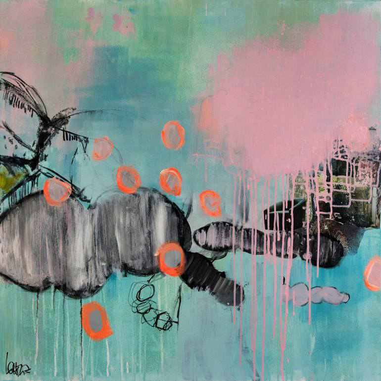 Abstract paintings realised with neon orange, black, blue, mint green and pink colours.