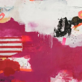 Abstract paintings realised with red, purple, white and black colours.