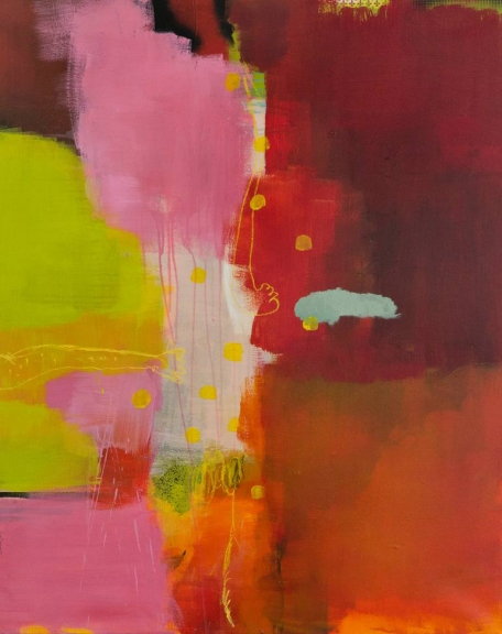 Abstract paintings realised with yellow, red, white, orange and pink colours.