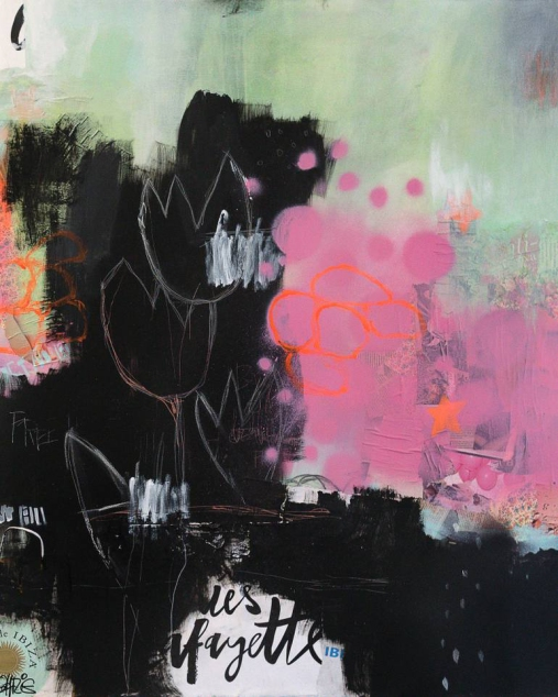 Abstract paintings realised with black, white, neon orange, mint green and pink colours.