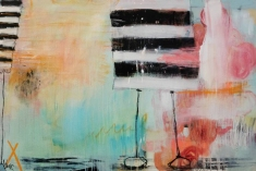 Abstract paintings realised with black, white, orange, light blue, and peach colours.