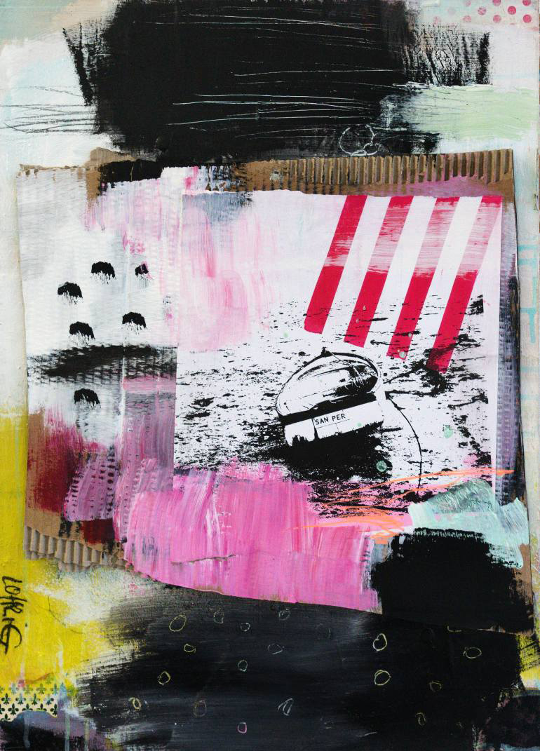 Abstract paintings realised with black, white, red, yellow and pink colours.