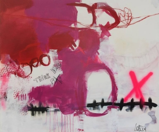 Abstract paintings realised with purple, neon pink, red, black and white colours.