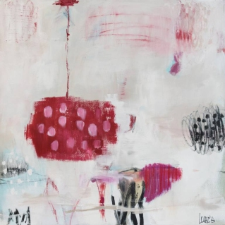 Abstract paintings realised with black, white, red and pink colours.