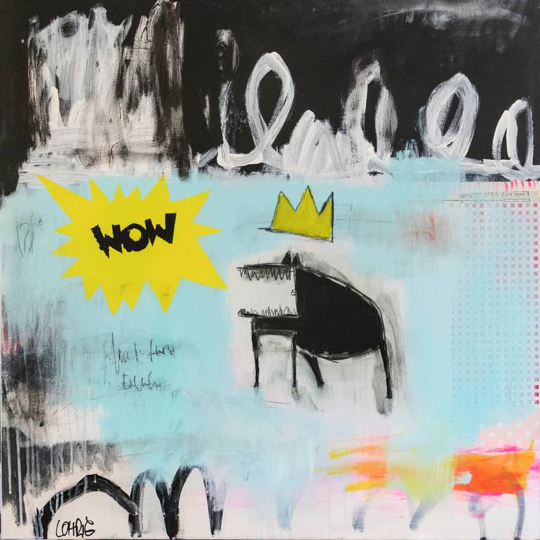 Abstract paintings realised with black, white, orange, light blue and yellow colours.