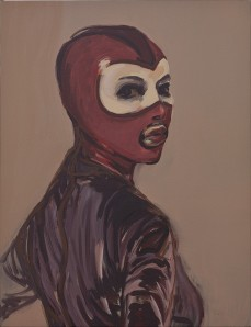 Portrait of a masked woman.