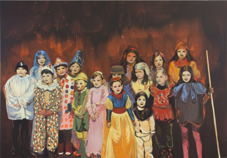 Portrait of a big group of masked kids.