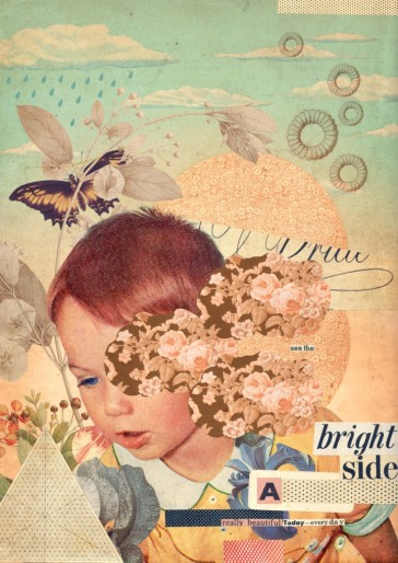 Vintage style collage of a kid and some spring elements.