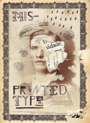 Vintage defaced male portrait.