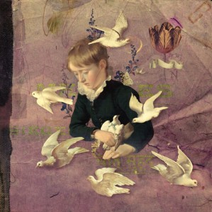 Portrait of a kid surrounded by birds.