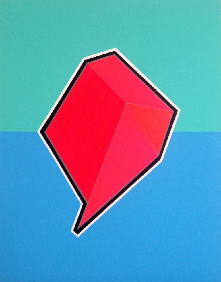 Red geometric composition with a blue background.