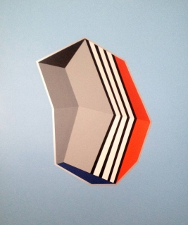 Black, grey, orange, and blue geometric composition with a grey background.