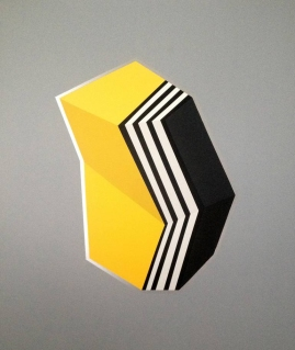 Black, white, and yellow geometric composition with a grey background.