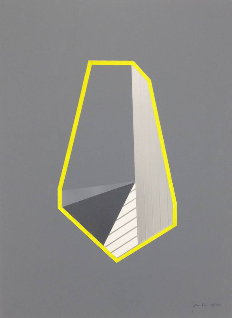 White, grey and yellow geometric composition with a grey background.