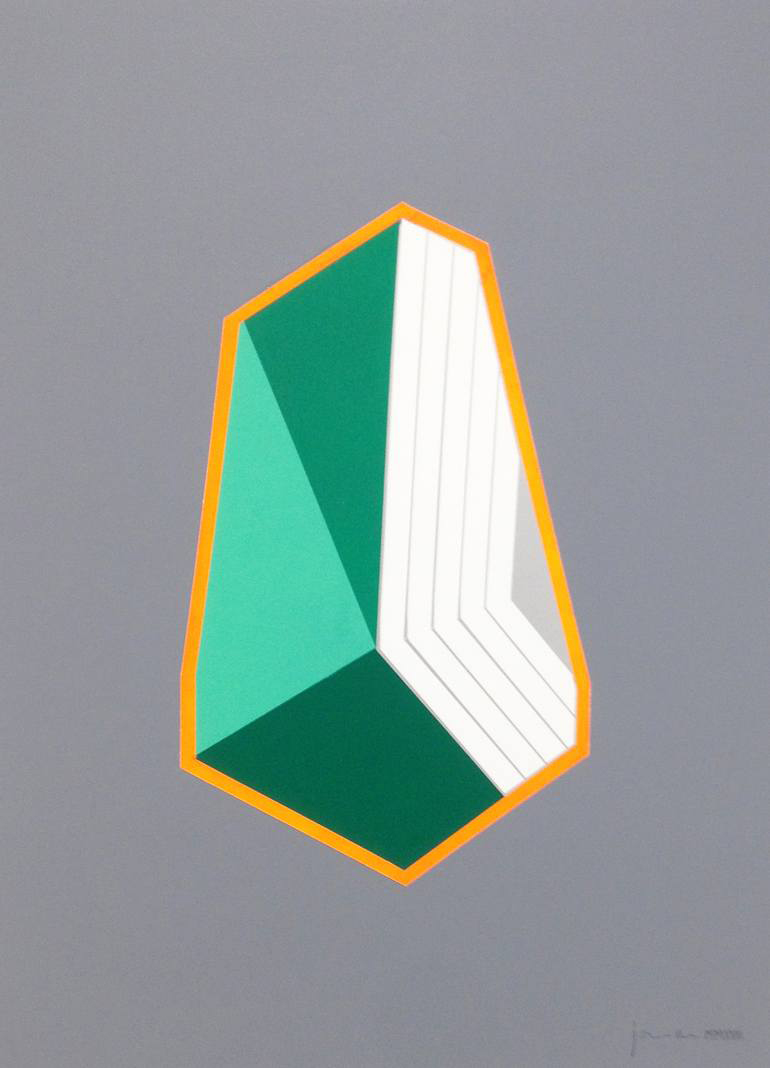 White, grey, orange and green geometric composition with a grey background.