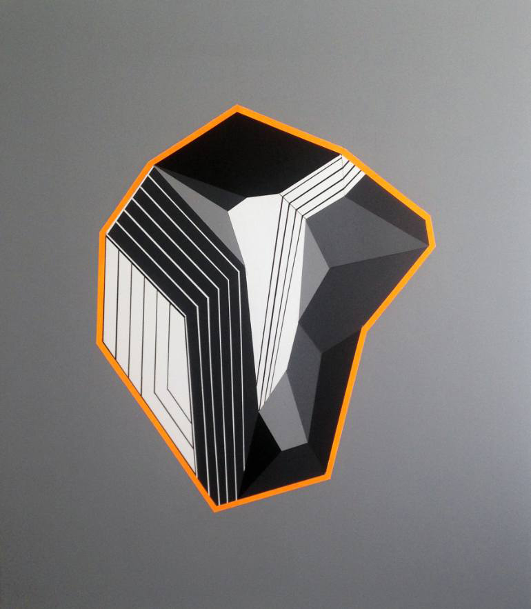 White, grey, orange and black geometric composition with a grey background.