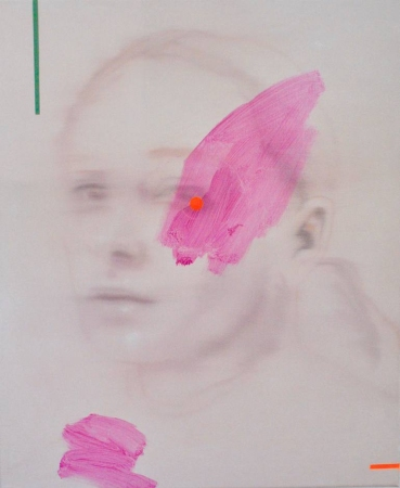 Blurry female portrait decorated with pastel and neon pink.