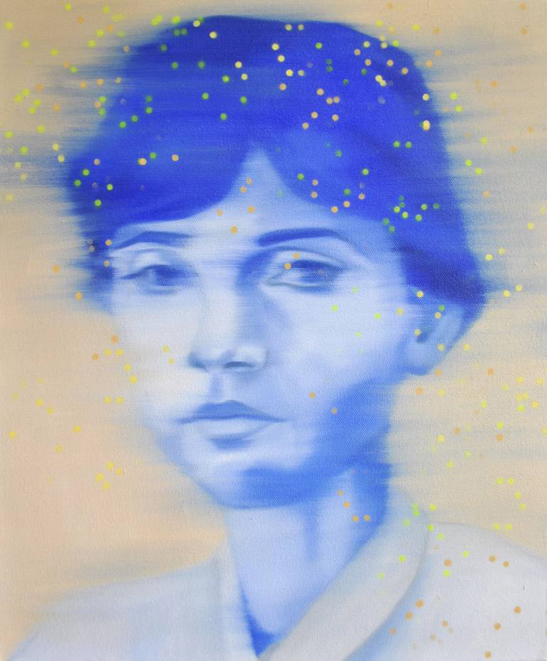 Woman blue portrait decorated with yellow dots.