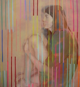Woman portrait decorated with colorful stripes.