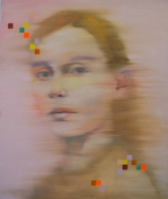 Woman portrait decorated with squared geometric elements.
