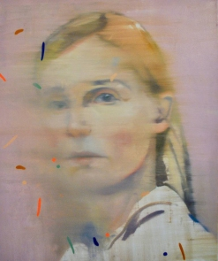 Woman portrait decorated with striped elements.