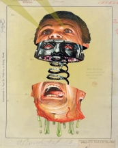 Male face cut in half with a robot face inside the head.