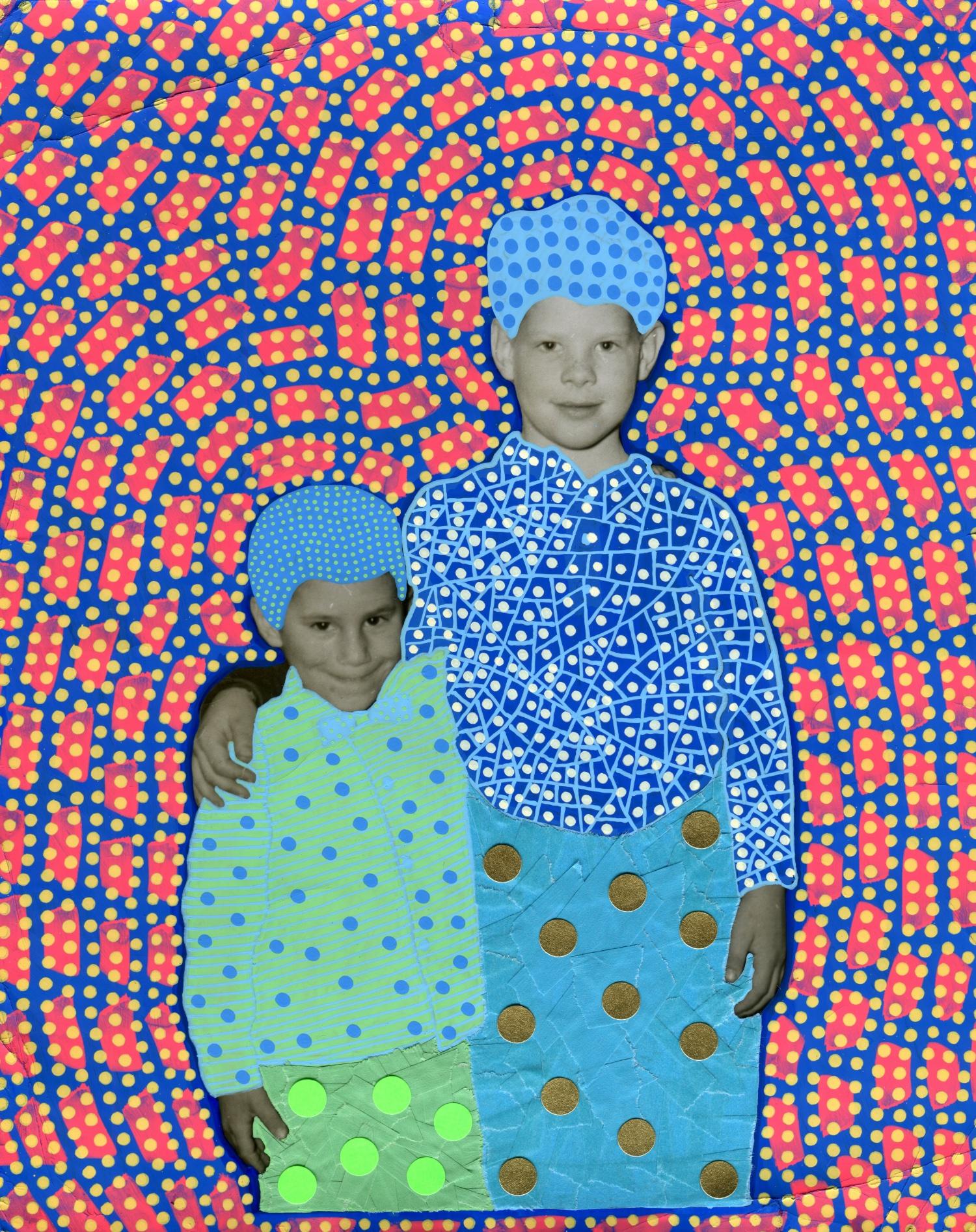 Altered kids hugging each other portrait.