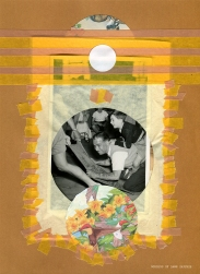 Mixed media collage created with a fun vintage family photography.