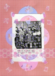 Mixed media collage created with a vintage paper cut of a young people choir photo.