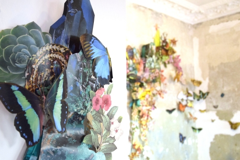 Detail of a collage installation made of paper into a room.