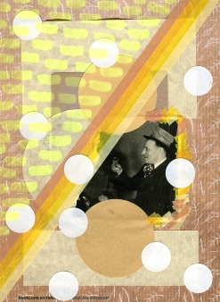 Mixed media collage created with a vintage photo of a man drinking.