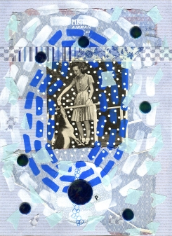 Mixed media collage created with a paper cut of a vintage image of a girl feeding a deer.