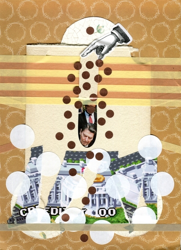 Mixed media collage created with a vintage postcard of Reagan.