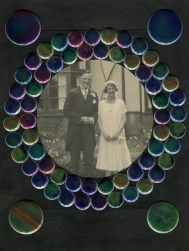 Altered vintage wedding couple photo.