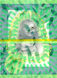Mixed media collage created with a vintage baby girl photo.
