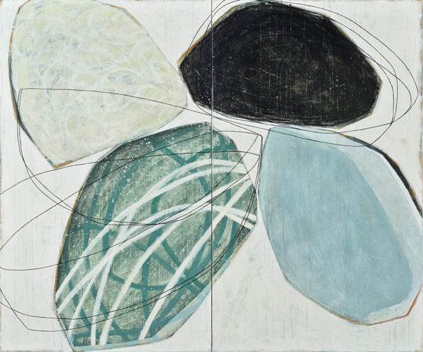 Stripey blue, black, green and white abstract organic forms.