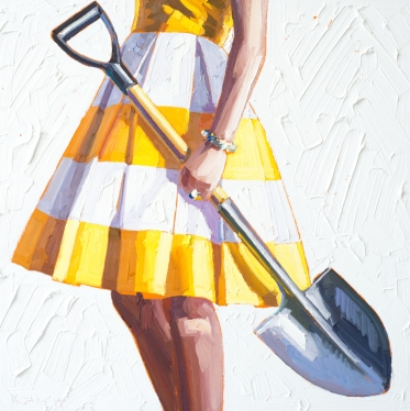 Woman tordo wearing a striped yellow and white dress holding a shovel.