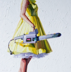 Woman torso wearing a yellow dress holding a chainsaw.