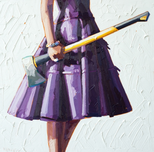 Woman torso wearing a purple dress holding an hatchet.