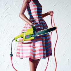 Woman torso wearing a striped pink and white dress holding a chainsaw.