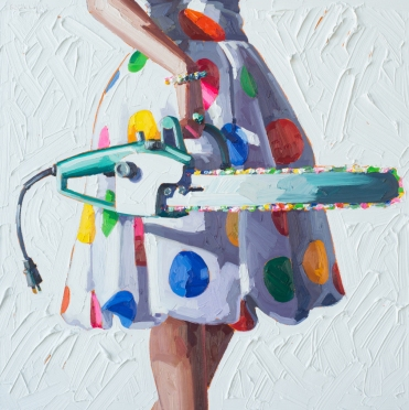 Woman torso wearing a dotty multicoloured dress holding a chainsaw.