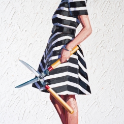 Woman torso with a black and white striped dress holding garden scissors.