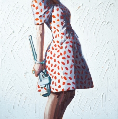 Woman torso wearing a red and white dress and holding a wrench